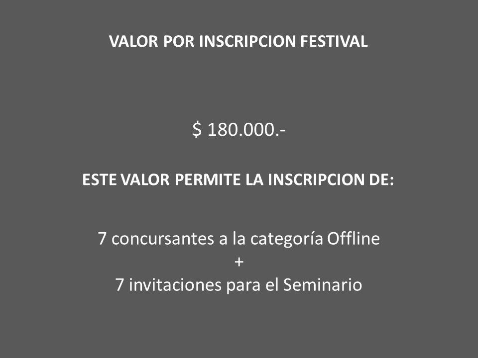 VALOR POR INSCRIPCION FESTIVAL $ 180.000.- ESTE VALOR PERMITE LA INSCRIPCION DE: 7 concursantes a la categoría Offline + 7 invitaciones para el Seminario