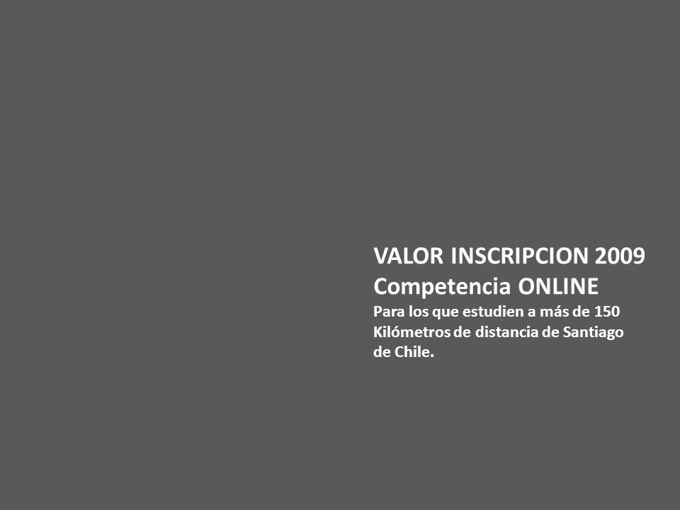 VALOR INSCRIPCION 2009 Competencia ONLINE Para los que estudien a más de 150 Kilómetros de distancia de Santiago de Chile.