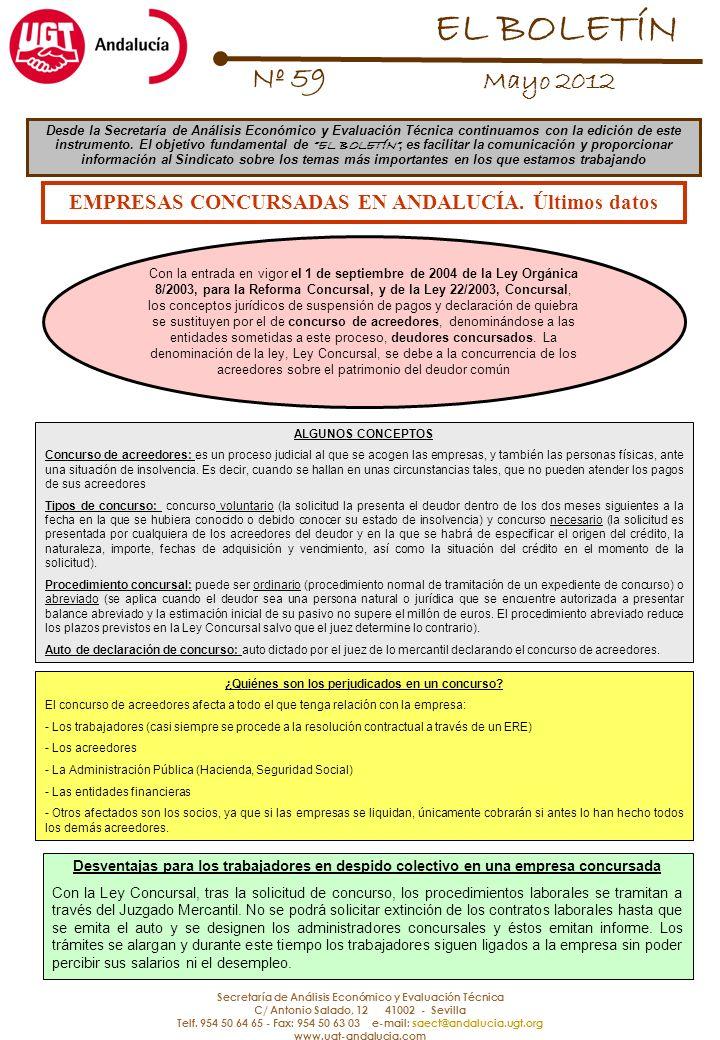 Secretaría de Análisis Económico y Evaluación Técnica C/ Antonio Salado, 12 41002 - Sevilla Telf.