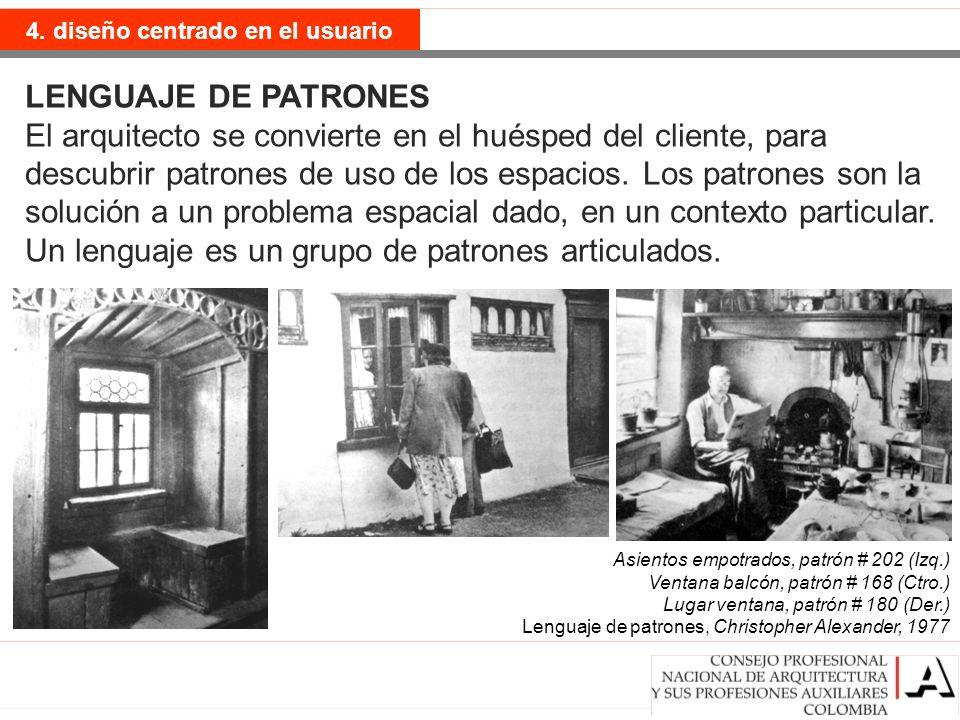 postmodernismo 4. diseño centrado en el usuario LENGUAJE DE PATRONES El arquitecto se convierte en el huésped del cliente, para descubrir patrones de