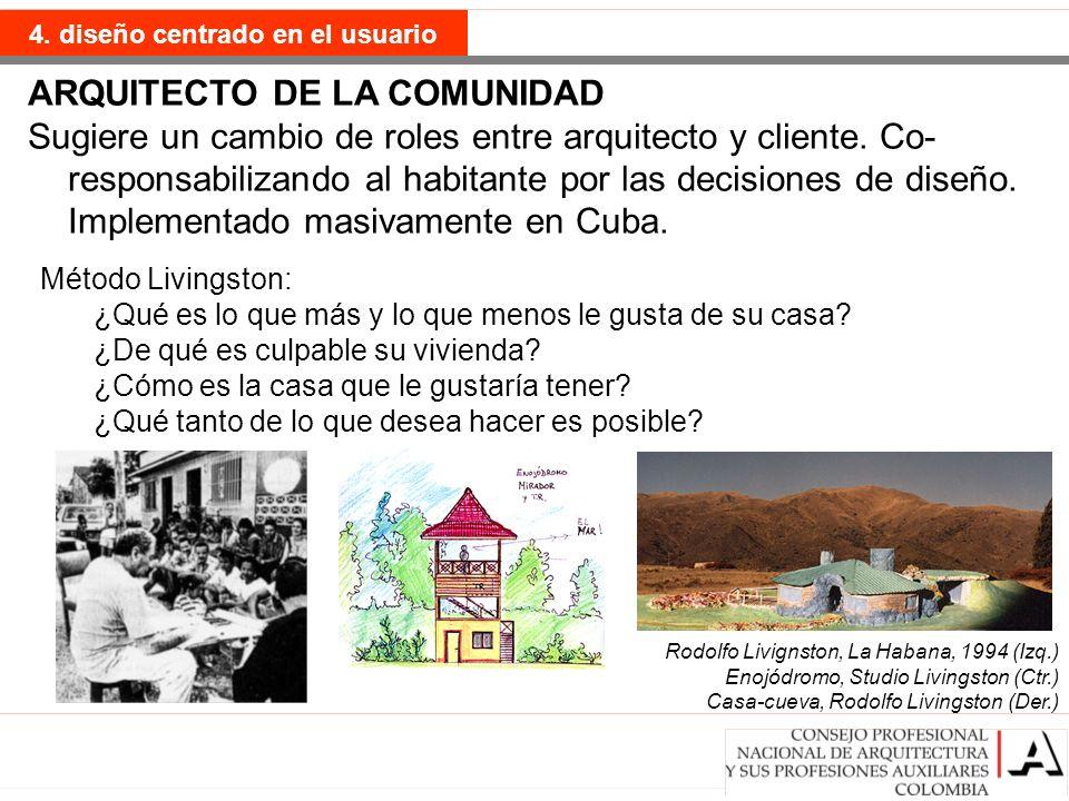 ARQUITECTO DE LA COMUNIDAD Sugiere un cambio de roles entre arquitecto y cliente. Co- responsabilizando al habitante por las decisiones de diseño. Imp