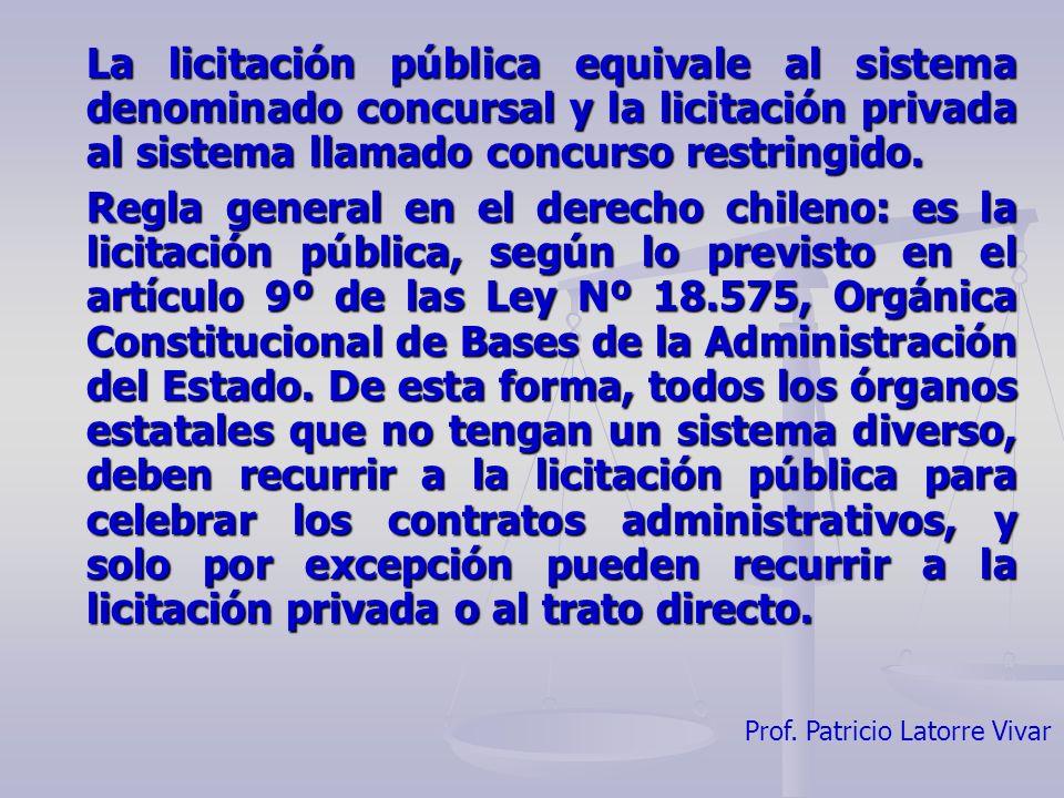 Prof. Patricio Latorre Vivar La licitación pública equivale al sistema denominado concursal y la licitación privada al sistema llamado concurso restri
