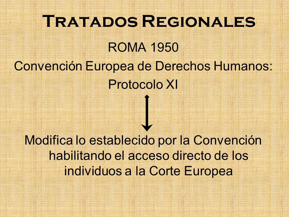 Tratados Regionales ROMA 1950 Convención Europea de Derechos Humanos: Protocolo XI Modifica lo establecido por la Convención habilitando el acceso dir