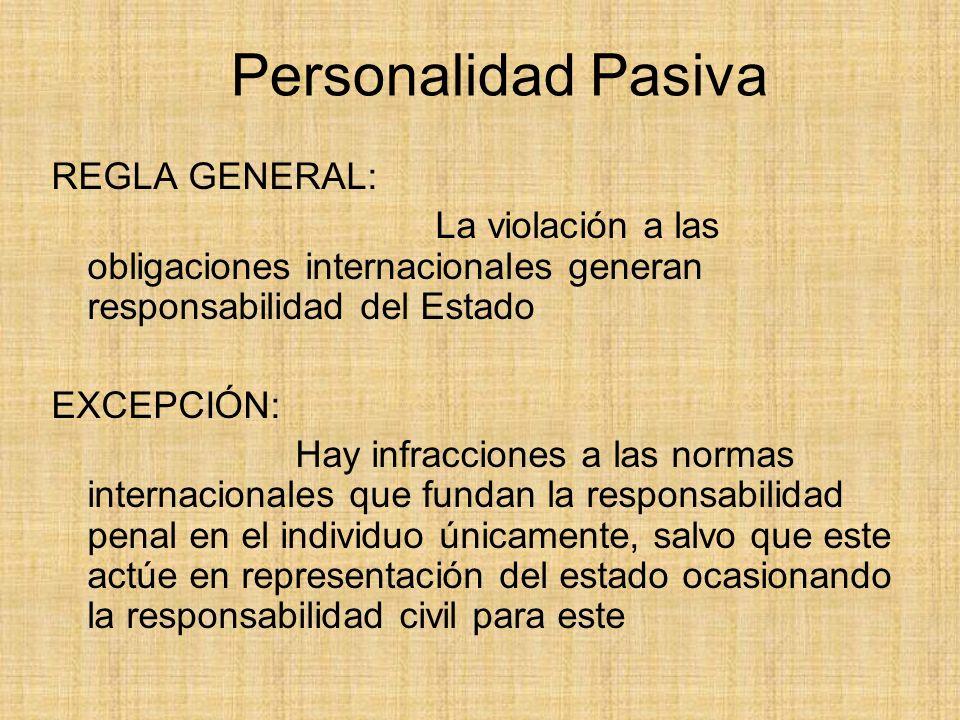Personalidad Pasiva REGLA GENERAL: La violación a las obligaciones internacionales generan responsabilidad del Estado EXCEPCIÓN: Hay infracciones a la