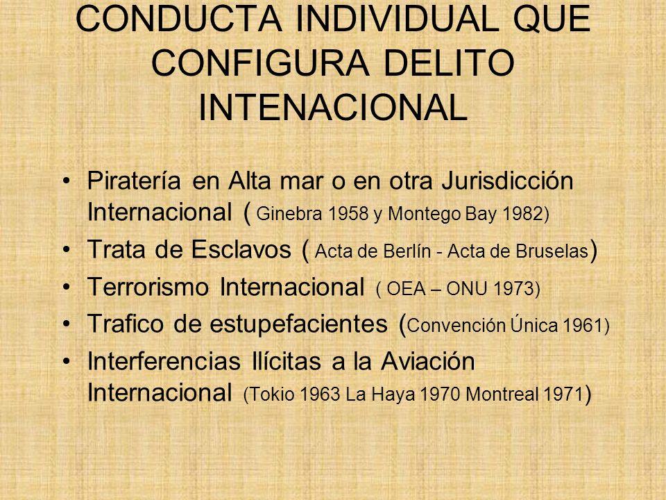 CONDUCTA INDIVIDUAL QUE CONFIGURA DELITO INTENACIONAL Piratería en Alta mar o en otra Jurisdicción Internacional ( Ginebra 1958 y Montego Bay 1982) Tr