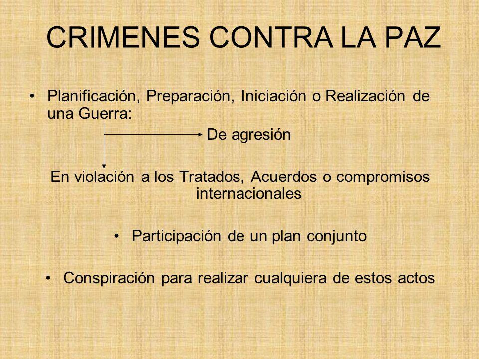 CRIMENES CONTRA LA PAZ Planificación, Preparación, Iniciación o Realización de una Guerra: De agresión En violación a los Tratados, Acuerdos o comprom