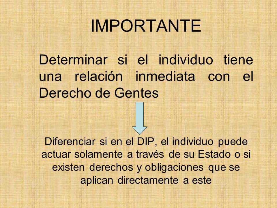 IMPORTANTE Determinar si el individuo tiene una relación inmediata con el Derecho de Gentes Diferenciar si en el DIP, el individuo puede actuar solame