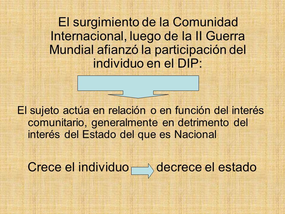 El surgimiento de la Comunidad Internacional, luego de la II Guerra Mundial afianzó la participación del individuo en el DIP: El sujeto actúa en relac