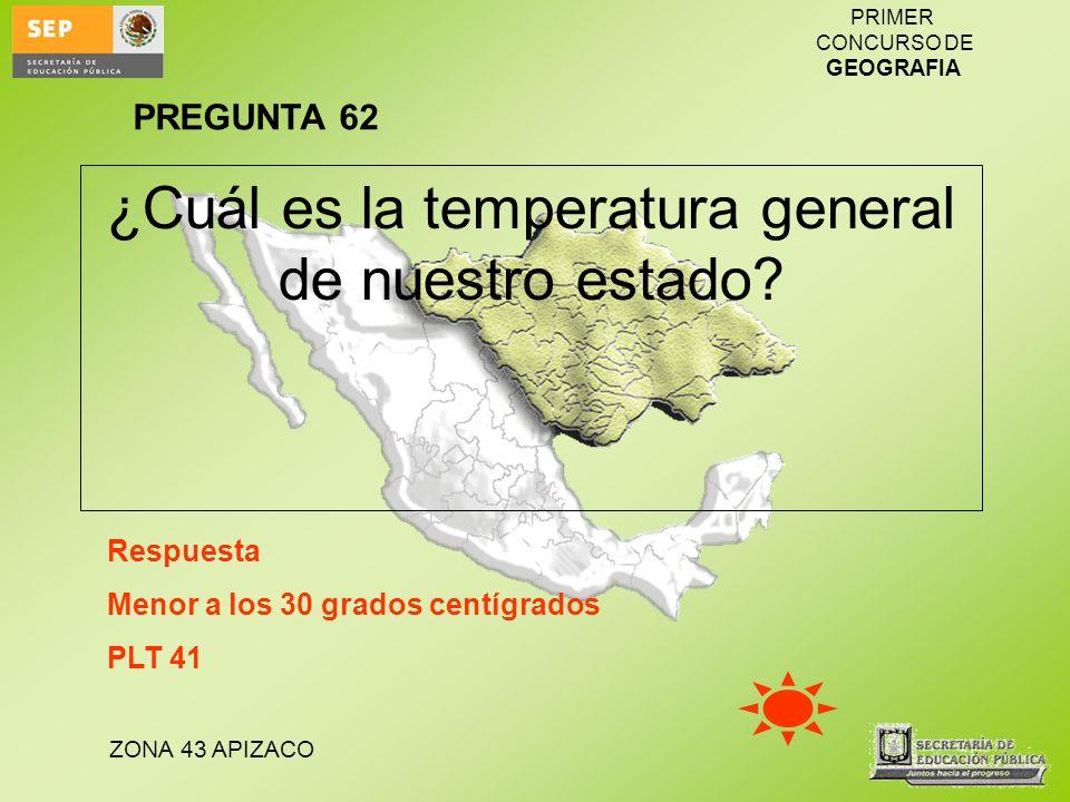 ZONA 43 APIZACO PRIMER CONCURSO DE GEOGRAFIA ¿Cuál es la temperatura general de nuestro estado? Respuesta Menor a los 30 grados centígrados PLT 41 PRE