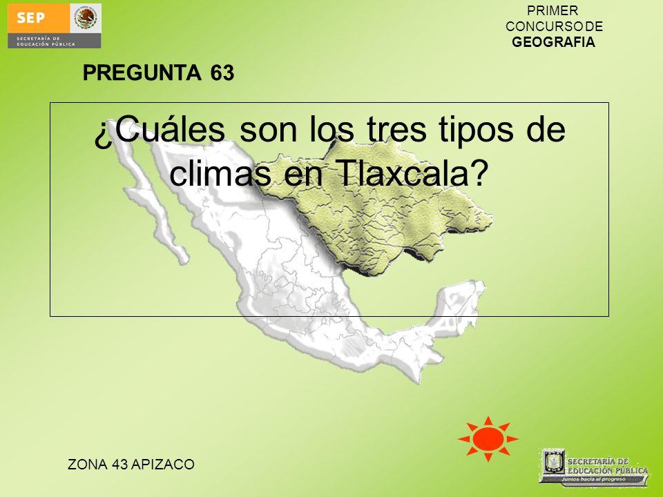 ZONA 43 APIZACO PRIMER CONCURSO DE GEOGRAFIA ¿Cuáles son los tres tipos de climas en Tlaxcala? PREGUNTA 63