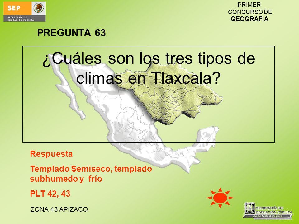 ZONA 43 APIZACO PRIMER CONCURSO DE GEOGRAFIA ¿Cuáles son los tres tipos de climas en Tlaxcala? Respuesta Templado Semiseco, templado subhumedo y frío