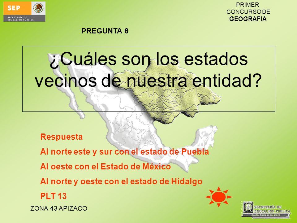 ZONA 43 APIZACO PRIMER CONCURSO DE GEOGRAFIA ¿Cuáles son los estados vecinos de nuestra entidad? Respuesta Al norte este y sur con el estado de Puebla
