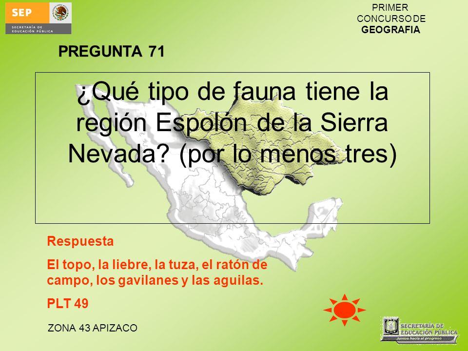 ZONA 43 APIZACO PRIMER CONCURSO DE GEOGRAFIA ¿Qué tipo de fauna tiene la región Espolón de la Sierra Nevada? (por lo menos tres) Respuesta El topo, la