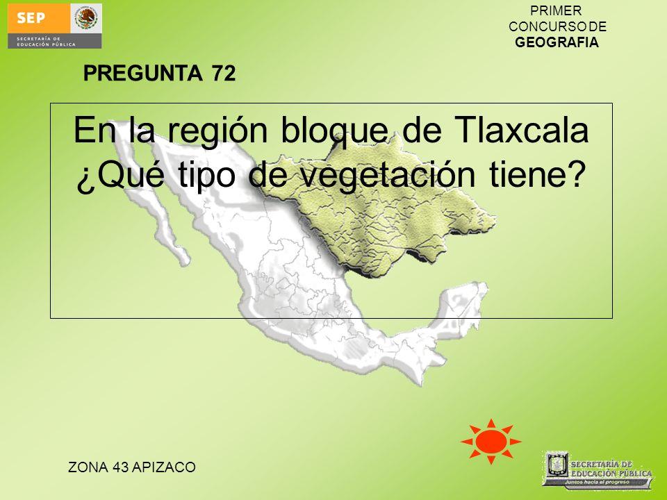 ZONA 43 APIZACO PRIMER CONCURSO DE GEOGRAFIA En la región bloque de Tlaxcala ¿Qué tipo de vegetación tiene? PREGUNTA 72