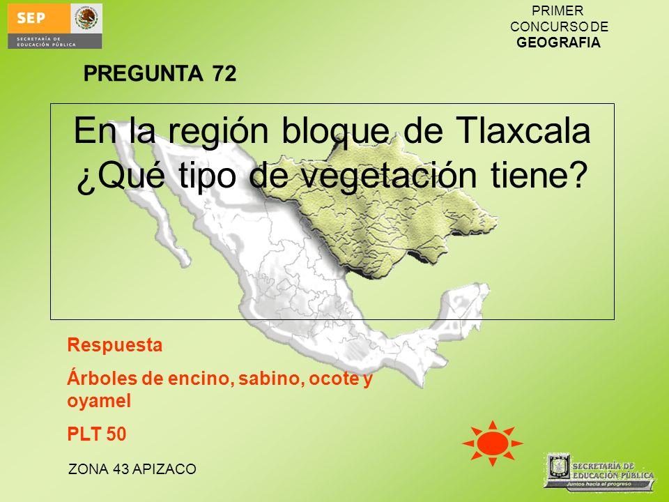 ZONA 43 APIZACO PRIMER CONCURSO DE GEOGRAFIA En la región bloque de Tlaxcala ¿Qué tipo de vegetación tiene? Respuesta Árboles de encino, sabino, ocote