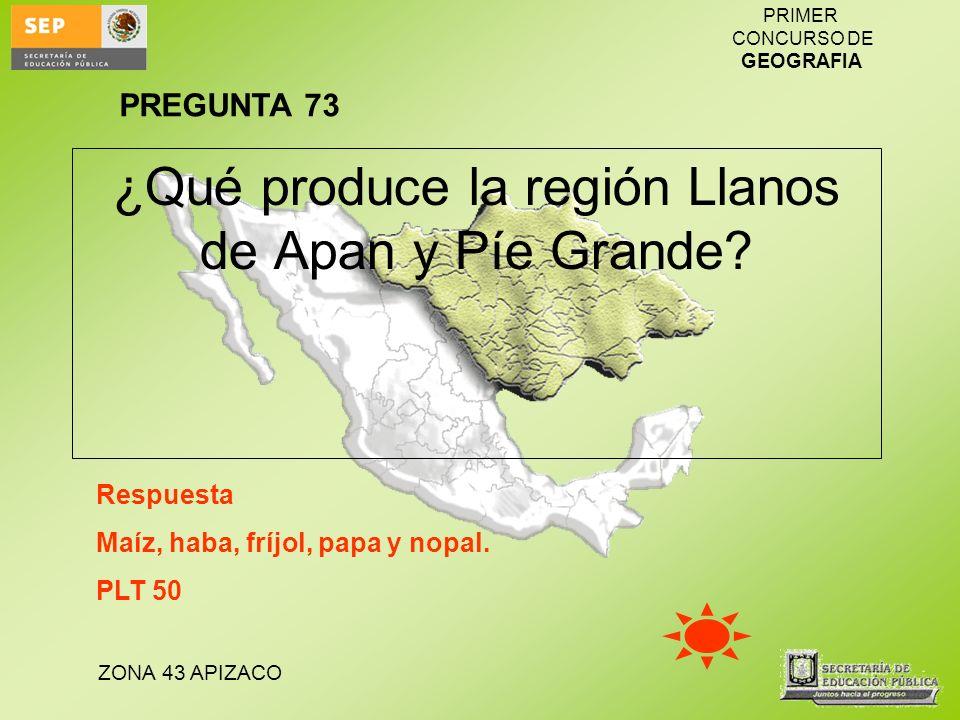 ZONA 43 APIZACO PRIMER CONCURSO DE GEOGRAFIA ¿Qué produce la región Llanos de Apan y Píe Grande? Respuesta Maíz, haba, fríjol, papa y nopal. PLT 50 PR