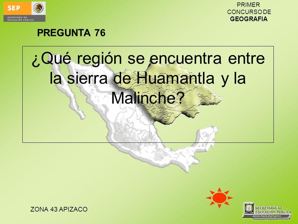 ZONA 43 APIZACO PRIMER CONCURSO DE GEOGRAFIA ¿Qué región se encuentra entre la sierra de Huamantla y la Malinche? PREGUNTA 76