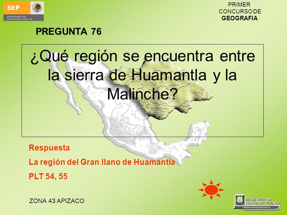 ZONA 43 APIZACO PRIMER CONCURSO DE GEOGRAFIA ¿Qué región se encuentra entre la sierra de Huamantla y la Malinche? Respuesta La región del Gran llano d