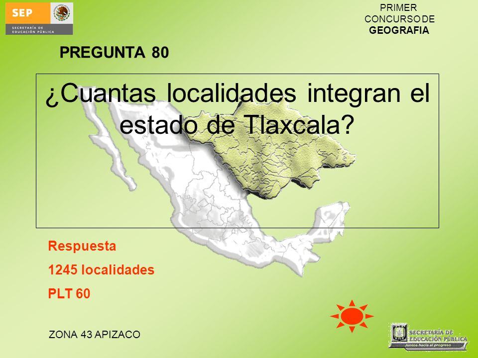 ZONA 43 APIZACO PRIMER CONCURSO DE GEOGRAFIA ¿Cuantas localidades integran el estado de Tlaxcala? Respuesta 1245 localidades PLT 60 PREGUNTA 80