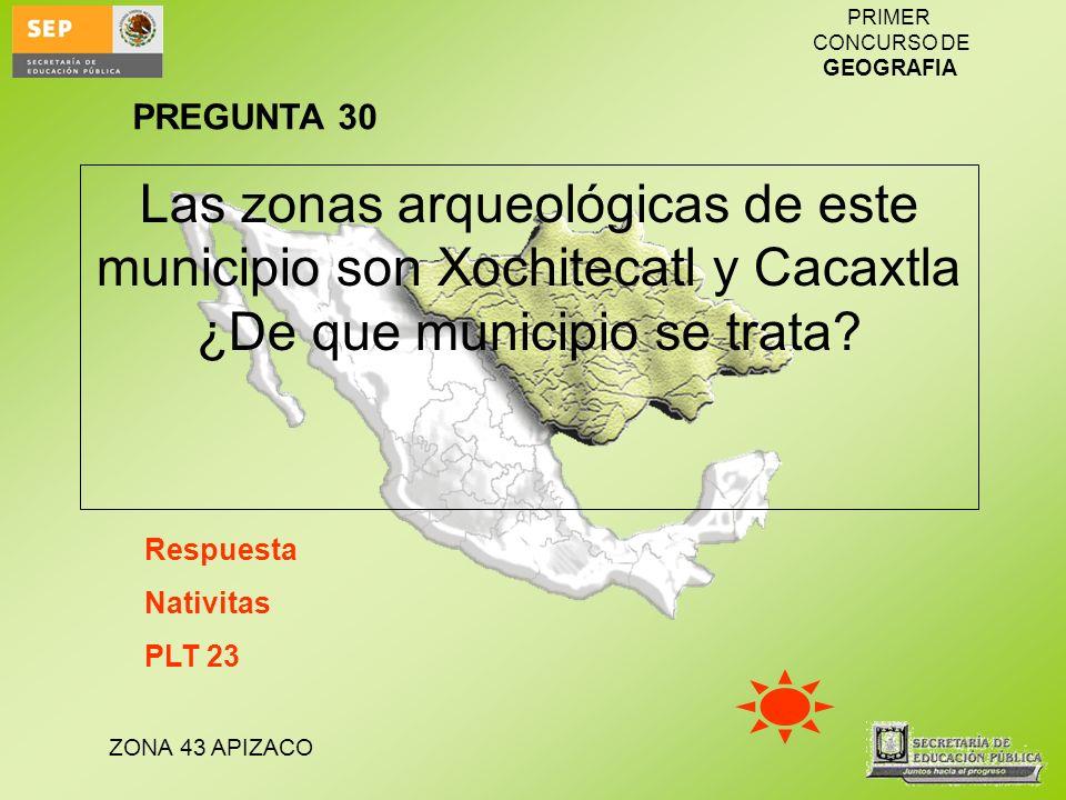 ZONA 43 APIZACO PRIMER CONCURSO DE GEOGRAFIA Las zonas arqueológicas de este municipio son Xochitecatl y Cacaxtla ¿De que municipio se trata? Respuest