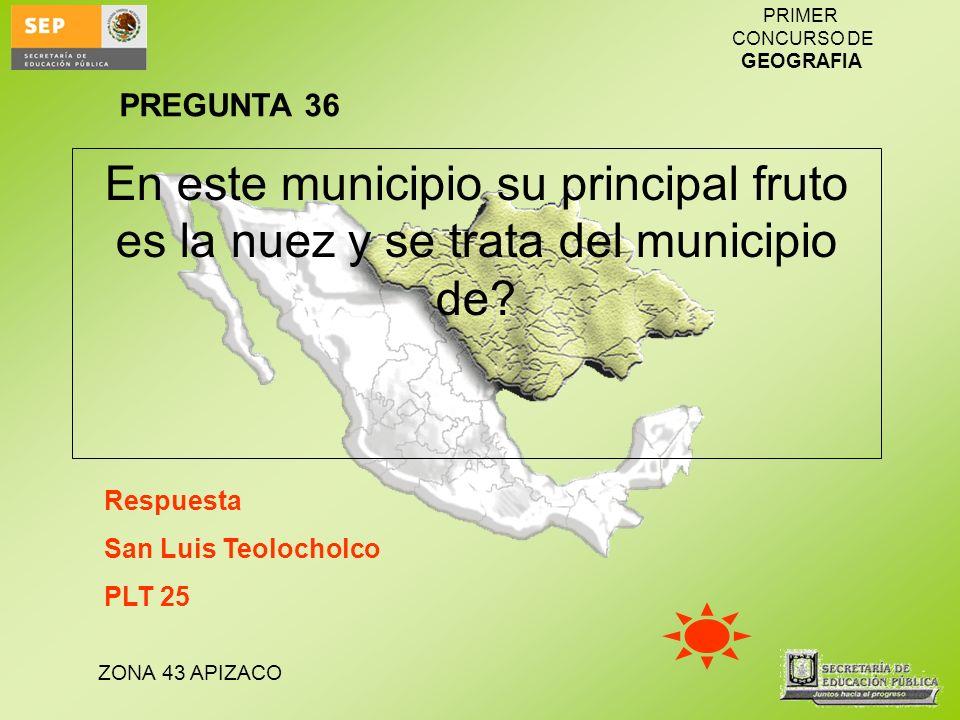 ZONA 43 APIZACO PRIMER CONCURSO DE GEOGRAFIA En este municipio su principal fruto es la nuez y se trata del municipio de? Respuesta San Luis Teolochol