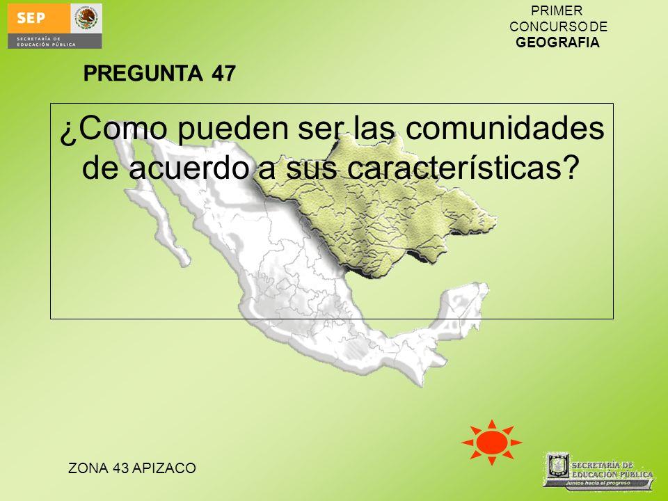 ZONA 43 APIZACO PRIMER CONCURSO DE GEOGRAFIA ¿Como pueden ser las comunidades de acuerdo a sus características? PREGUNTA 47