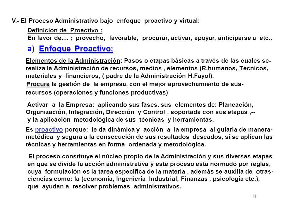 11 V.- El Proceso Administrativo bajo enfoque proactivo y virtual: Definicion de Proactivo : En favor de.... ; provecho, favorable, procurar, activar,