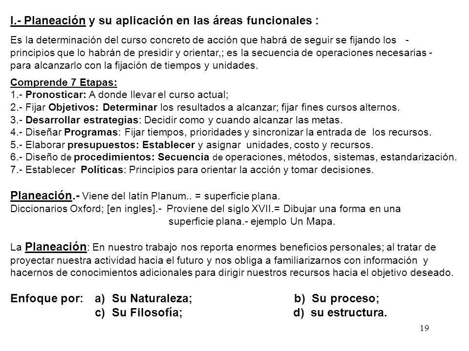 19 I.- Planeación y su aplicación en las áreas funcionales : Es la determinación del curso concreto de acción que habrá de seguir se fijando los - pri