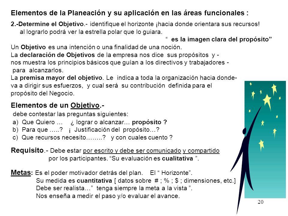 20 Elementos de la Planeación y su aplicación en las áreas funcionales : 2.-Determine el Objetivo.- identifique el horizonte ¡hacia donde orientara su