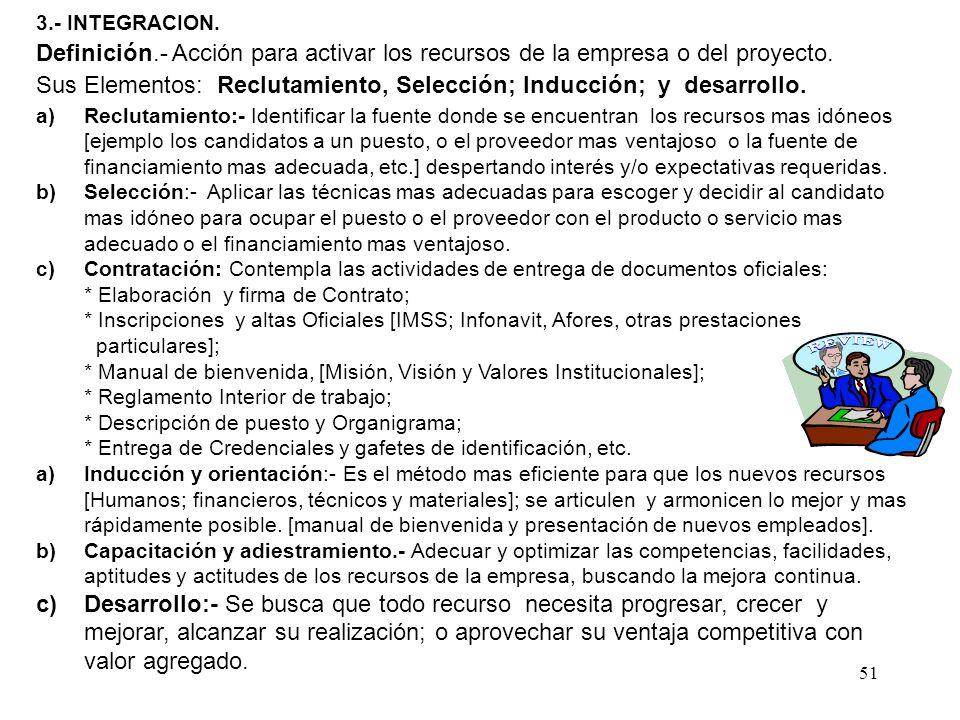 51 3.- INTEGRACION. Definición.- Acción para activar los recursos de la empresa o del proyecto. Sus Elementos: Reclutamiento, Selección; Inducción; y