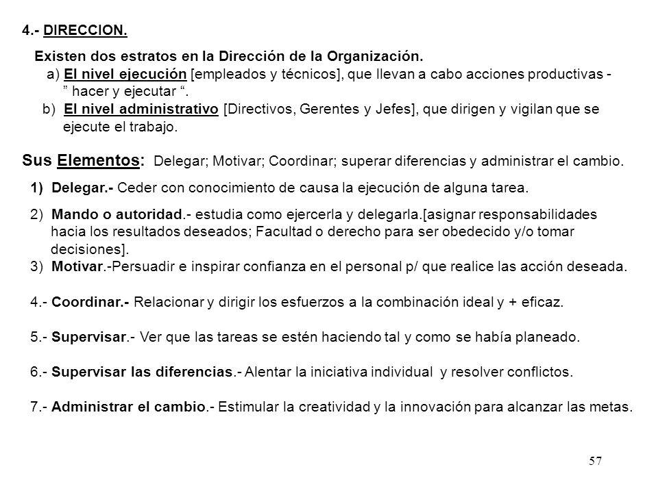 57 4.- DIRECCION. Existen dos estratos en la Dirección de la Organización. a) El nivel ejecución [empleados y técnicos], que llevan a cabo acciones pr