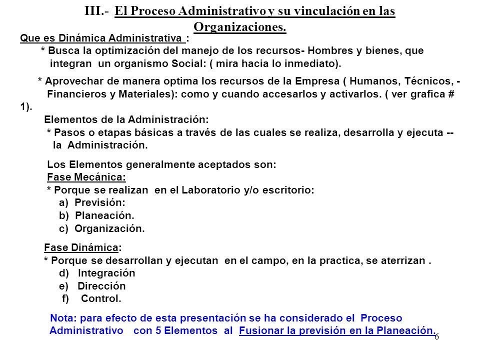 6 III.- El Proceso Administrativo y su vinculación en las Organizaciones. Que es Dinámica Administrativa : * Busca la optimización del manejo de los r