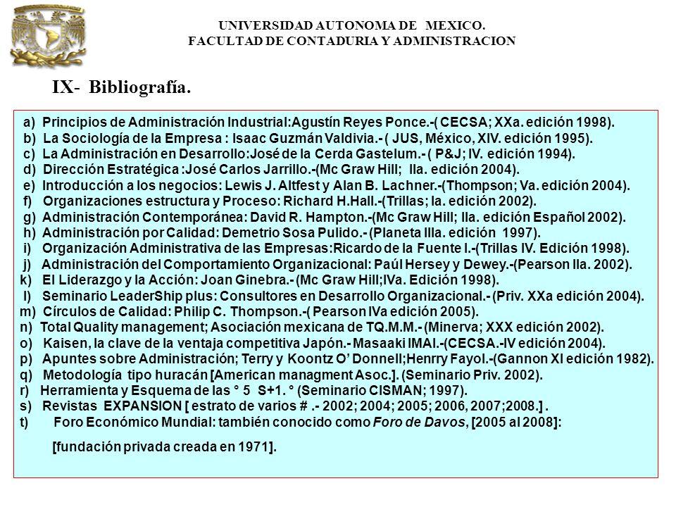 UNIVERSIDAD AUTONOMA DE MEXICO. FACULTAD DE CONTADURIA Y ADMINISTRACION IX- Bibliografía. a) Principios de Administración Industrial:Agustín Reyes Pon