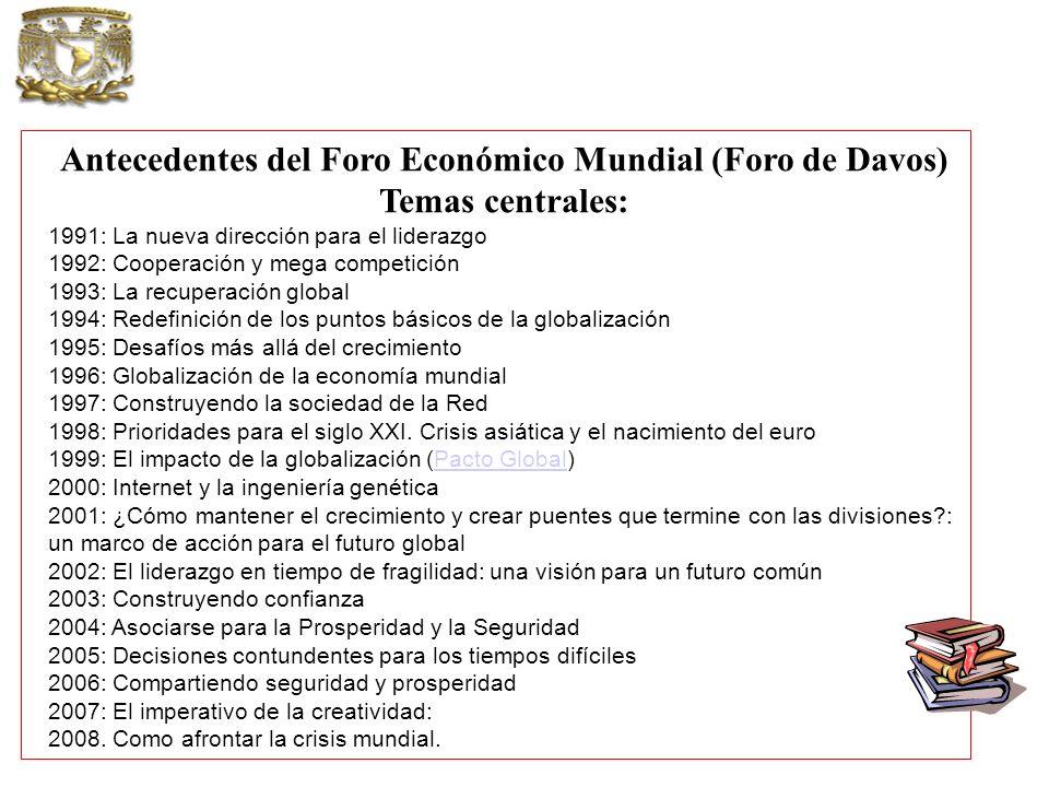 Antecedentes del Foro Económico Mundial (Foro de Davos) Temas centrales: 1991: La nueva dirección para el liderazgo 1992: Cooperación y mega competici