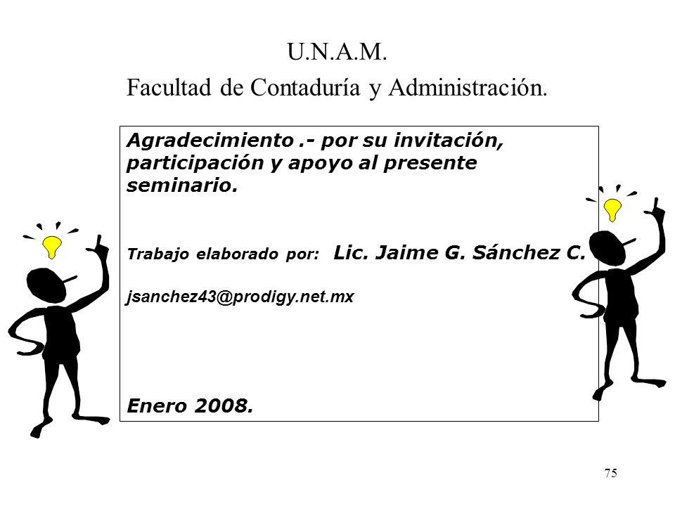 75 U.N.A.M. Facultad de Contaduría y Administración. Agradecimiento.- por su invitación, participación y apoyo al presente seminario. Trabajo elaborad
