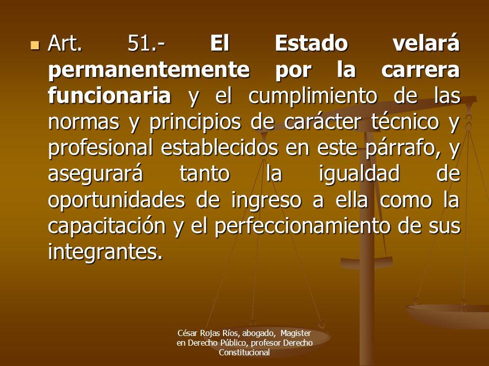 Art. 51.- El Estado velará permanentemente por la carrera funcionaria y el cumplimiento de las normas y principios de carácter técnico y profesional e