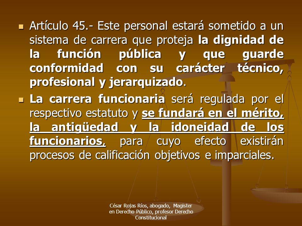 Artículo 45.- Este personal estará sometido a un sistema de carrera que proteja la dignidad de la función pública y que guarde conformidad con su cará