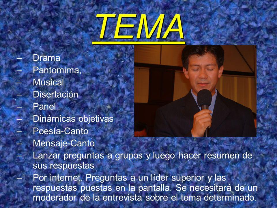 TEMA –Drama –Pantomima, –Musical –Disertación –Panel –Dinámicas objetivas –Poesía-Canto –Mensaje-Canto –Lanzar preguntas a grupos y luego hacer resume
