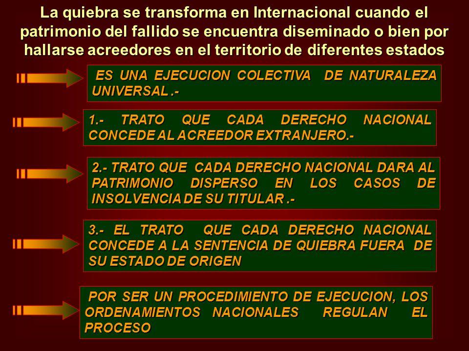 ES UNA EJECUCION COLECTIVA DE NATURALEZA UNIVERSAL.- ES UNA EJECUCION COLECTIVA DE NATURALEZA UNIVERSAL.- 1.- TRATO QUE CADA DERECHO NACIONAL CONCEDE
