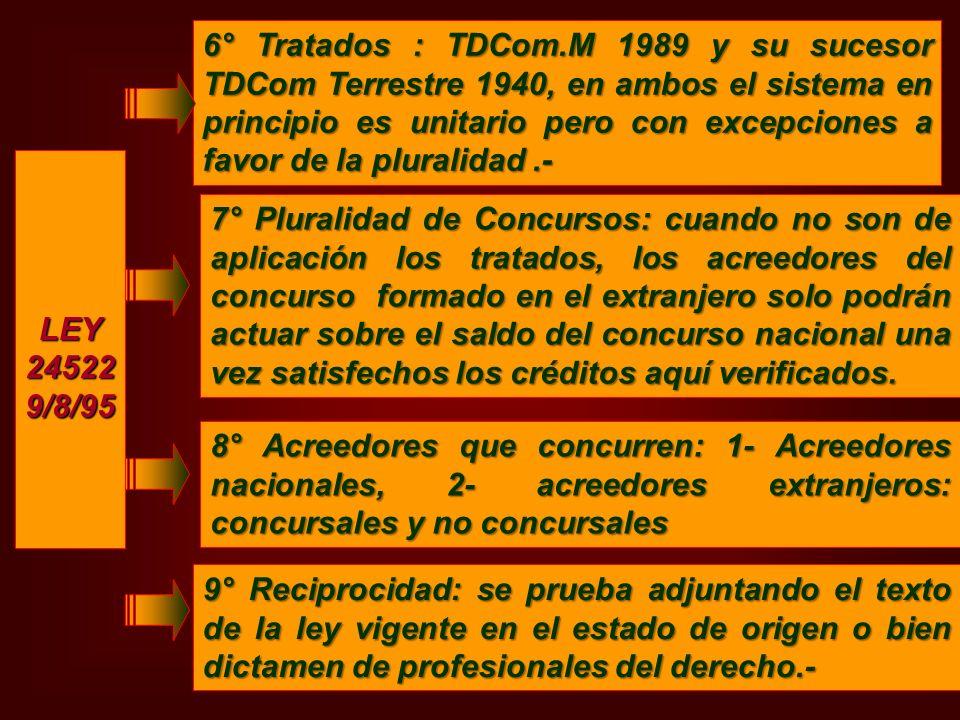 LEY245229/8/95 6° Tratados : TDCom.M 1989 y su sucesor TDCom Terrestre 1940, en ambos el sistema en principio es unitario pero con excepciones a favor