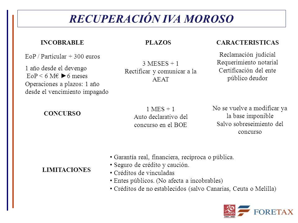 RECUPERACIÓN IVA MOROSO INCOBRABLE EoP / Particular + 300 euros 1 año desde el devengo EoP < 6 M 6 meses Operaciones a plazos: 1 año desde el vencimiento impagado CONCURSO 3 MESES + 1 Rectificar y comunicar a la AEAT Reclamación judicial Requerimiento notarial Certificación del ente público deudor 1 MES + 1 Auto declarativo del concurso en el BOE No se vuelve a modificar ya la base imponible Salvo sobreseimiento del concurso LIMITACIONES Garantía real, financiera, recíproca o pública.