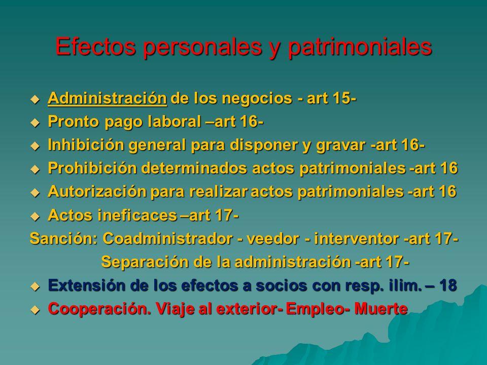 Efectos personales y patrimoniales Administración de los negocios - art 15- Administración de los negocios - art 15- Pronto pago laboral –art 16- Pron