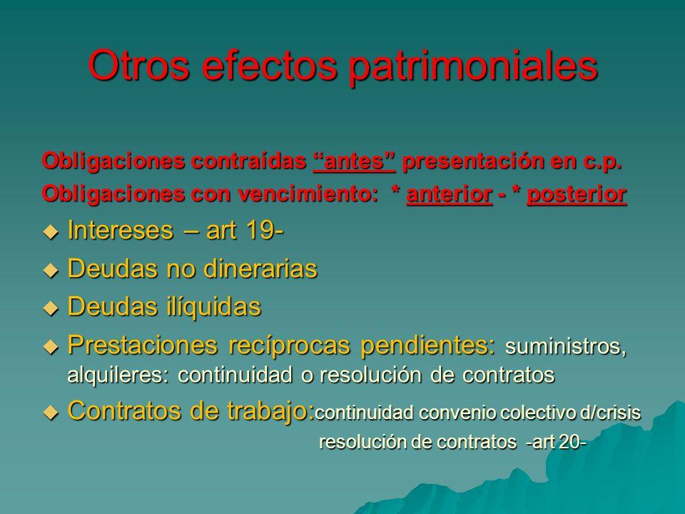 Otros efectos patrimoniales Obligaciones contraídas antes presentación en c.p. Obligaciones con vencimiento: * anterior - * posterior Intereses – art