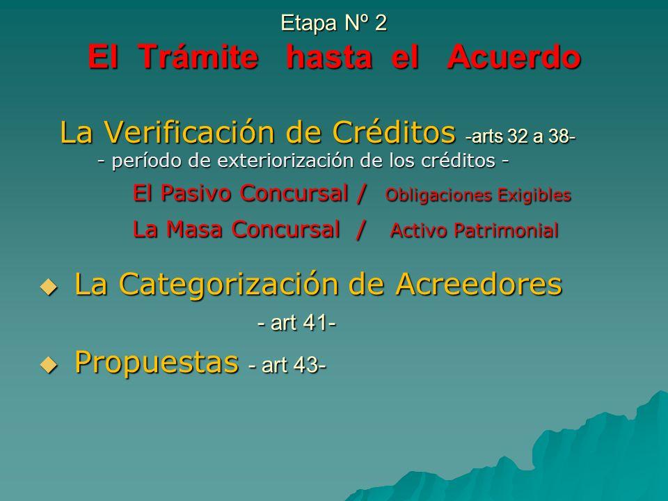 Etapa Nº 2 El Trámite hasta el Acuerdo La Verificación de Créditos -arts 32 a 38- La Verificación de Créditos -arts 32 a 38- - período de exteriorizac