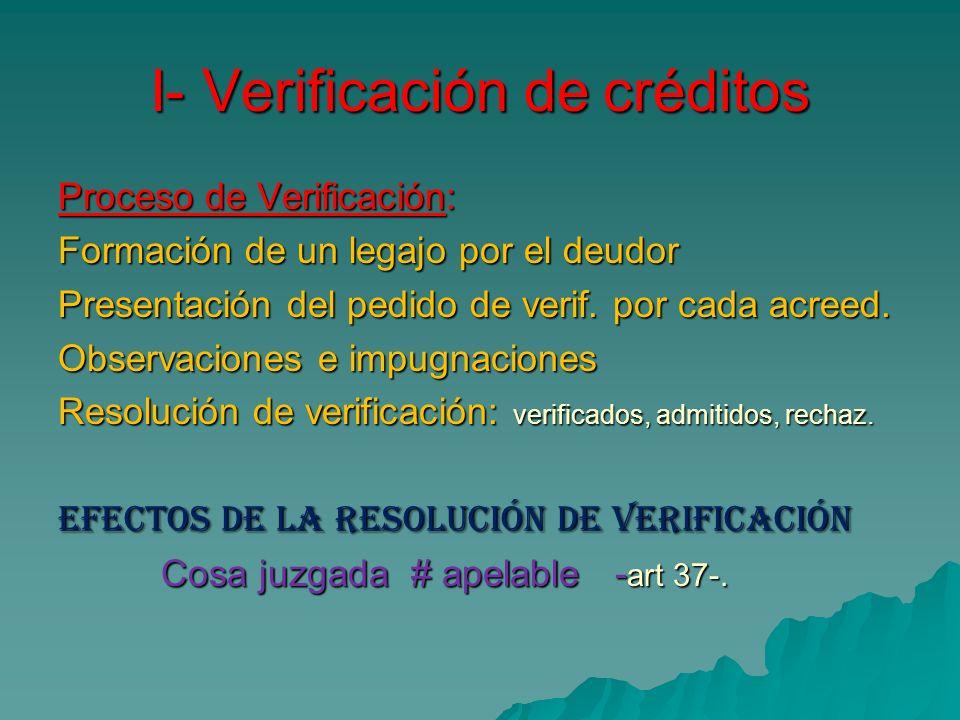 I- Verificación de créditos Proceso de Verificación: Formación de un legajo por el deudor Presentación del pedido de verif. por cada acreed. Observaci