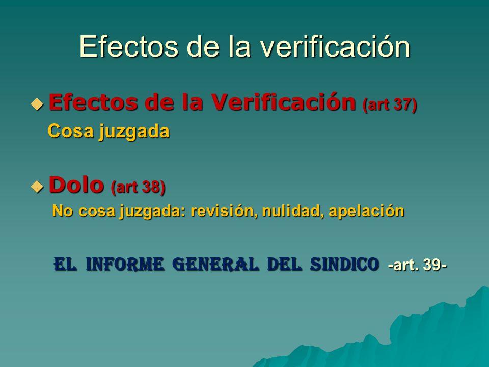 Efectos de la verificación Efectos de la Verificación (art 37) Efectos de la Verificación (art 37) Cosa juzgada Cosa juzgada Dolo (art 38) Dolo (art 3