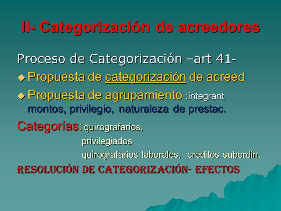 II- Categorización de acreedores Proceso de Categorización –art 41 - Propuesta de categorización de acreed Propuesta de categorización de acreed Propu