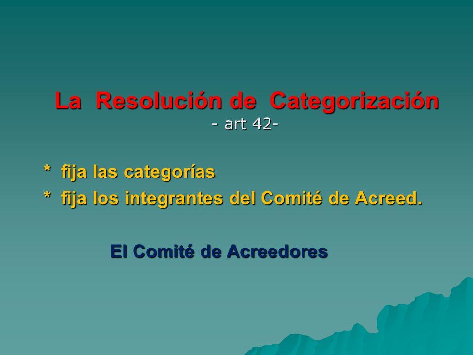 La Resolución de Categorización - art 42- La Resolución de Categorización - art 42- * fija las categorías * fija las categorías * fija los integrantes