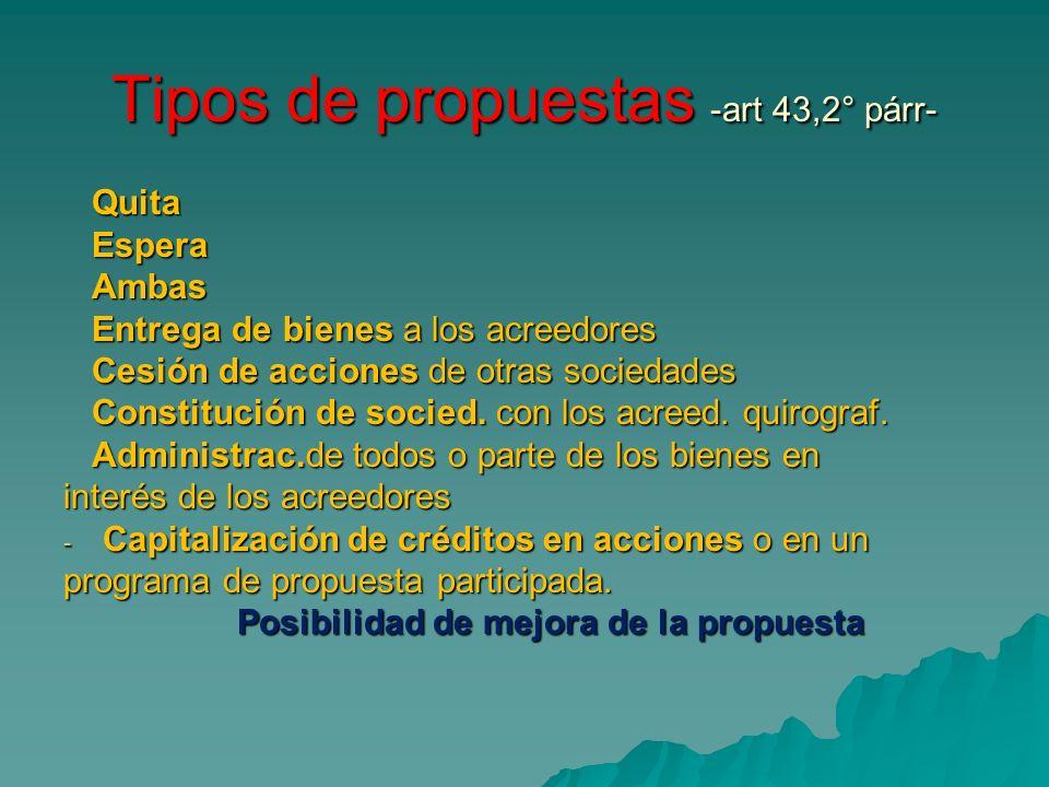 Tipos de propuestas -art 43,2° párr- Quita Quita Espera Espera Ambas Ambas Entrega de bienes a los acreedores Entrega de bienes a los acreedores Cesió