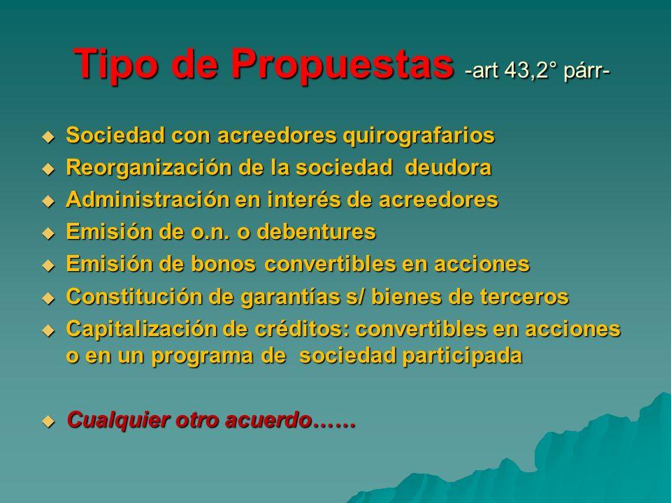 Tipo de Propuestas -art 43,2° párr- Tipo de Propuestas -art 43,2° párr- Sociedad con acreedores quirografarios Sociedad con acreedores quirografarios